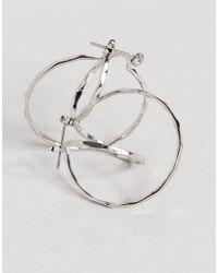 ASOS - Metallic Flat Face Double Hoop Earrings - Lyst