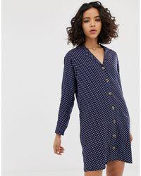 Robe chemise décontractée avec imprimé abstrait à pois Native Youth en coloris Blue