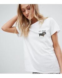 T-shirt con stampa di bassotto di Daisy Street in White