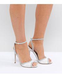 ASOS Multicolor Asos Hitched Wide Fit Bridal Embellished Heeled Sandals