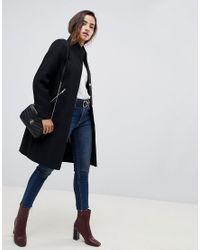 Manteau habillé à col cheminée et bordure contrastante ASOS en coloris Black