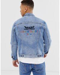 Original 2 - Veste camionneur en jean à logo chevaux 90's - Délavage clair Levi's pour homme en coloris Blue