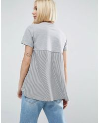 ASOS - Gray T-shirt Stripe With Cape Back - Lyst