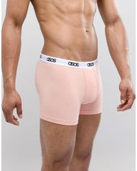 ASOS Trunks In Pink & Grey With Branded Waistband 5 Pack In Organic Cotton Multipack Saving for men
