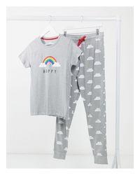 Completo pigiama grigio con stampa di Threadbare in Gray