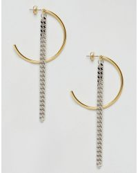 ASOS - Metallic Limited Edition Half Hoop And Chain Drop Earrings - Lyst