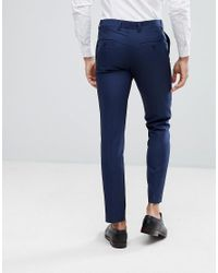 Moss Bros Blue Moss London Skinny Suit Pants In Navy for men