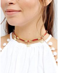 ASOS - Metallic Summer Eye Charm Choker Necklace - Lyst