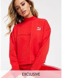 PUMA Red Raw Edge Sweatshirt