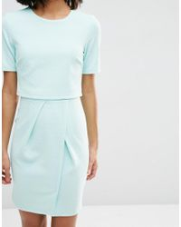 ASOS - Green Textured Double Layer Mini Wiggle Dress - Lyst