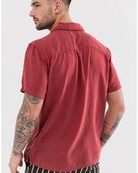 Pull&Bear – Hemd mit Reverskragen in Red für Herren