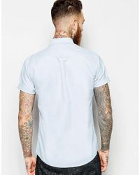 ASOS Asos Oxford Shirt In Blue With Short Sleeves for men
