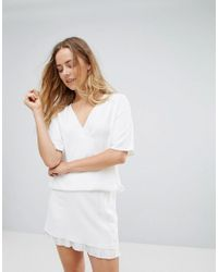 French Connection | White Arrow Crepe Wrap Top | Lyst