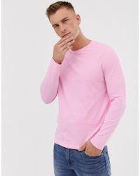 Camiseta de manga larga en tejido orgánico en violeta ASOS de hombre de color Pink