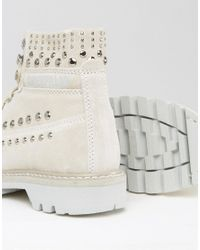 Caterpillar - White Cat Colorado Studded Lace Up Flat Boot - Lyst