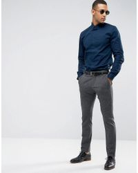 Threadbare Blue Premium Stretch Cotton Slim Fit Shirt for men