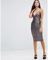 AX Paris - Metallic Midi Cami Dress - Lyst