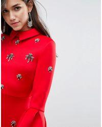 ASOS Red Scuba Embellished A-line Mini Dress