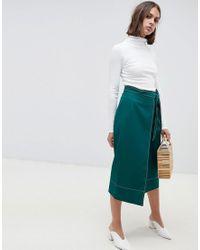 ASOS Green Tailored Midi Wrap Skirt With Topstitch
