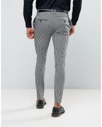 Religion Black Super Skinny Suit Trousers In Gingham for men
