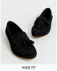 ASOS Message - Suède Loafers Met Brede Pasvorm En Kwastjes in het Black
