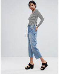 Daisy Street - Black Stripe Bodysuit With Ribbon Tie Back - Lyst