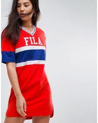 Fila - Red Oversized Varsity T-shirt Dress - Lyst