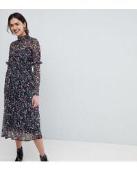 ASOS Multicolor Mesh Ditsy Print Midi Dress With High Neck