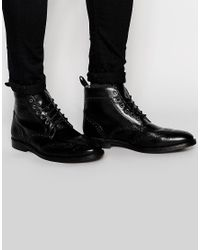 Red Tape Brogue Boots - Black for men