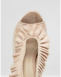 ASOS Natural Porter Ruffle Heels