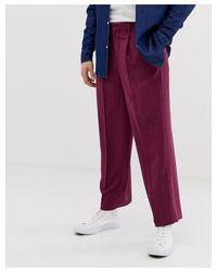 Pantaloni slim eleganti e testurizzati color prugna di Noak in Purple da Uomo