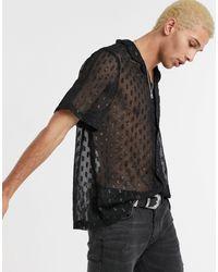 ASOS Black Regular Fit Sheer Burnout Shirt With Revere Collar for men