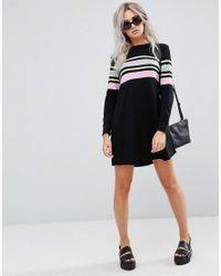 ASOS Black Knitted Swing Dress With Stripe