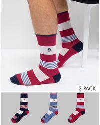 Original Penguin - Multicolor 3 Pack Patterned Socks for Men - Lyst