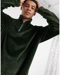 Велюровый Джемпер Цвета Хаки На Молнии -зеленый Topman для него, цвет: Green