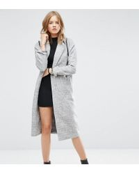 ASOS - Gray Coat With Batwing Sleeve In Midi Length - Lyst