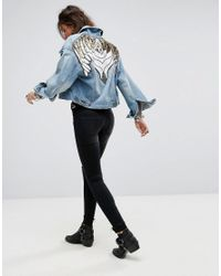 Free People   Blue Glam Embellished Denim Jacket   Lyst
