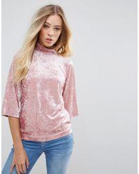 Top en velours avec col montant B.Young en coloris Pink