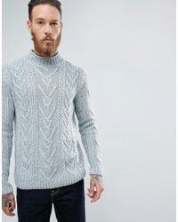 ASOS Cable Knit Jumper In Steel Blue for men