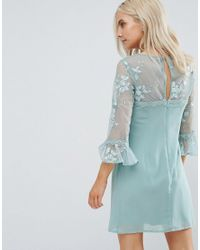 Little Mistress Green Allover Lace Top Shift Dress With Fluted Sleeve Detail