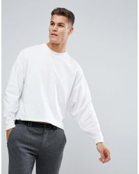 ASOS White Asos Oversized Long Sleeve T-shirt With Extreme Batwing for men