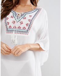 Liquorish - White Embroidered Beach Cover Up - Lyst