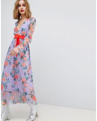 ASOS Multicolor Asos Printed Mesh Maxi Dress With Contrast Belt