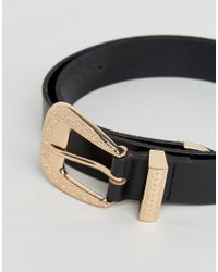 Pieces Black Leather Western Detail Belt