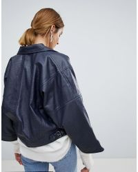 SELECTED Blue Femme Textured Leather Jacket With Wide Sleeve