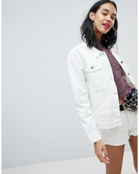 Missguided - White Barbie Logo Denim Jacket - Lyst