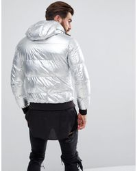 Armani Jeans Metallic Down Padded Hooded Bomber Jacket Silver for men