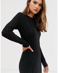 Платье Миди Мелкой Вязки В Рубчик Из Переработанных Материалов ASOS, цвет: Black