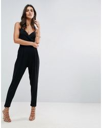 ASOS Black Cami Wrap Jersey Jumpsuit With Strap Back Detail And Peg Leg