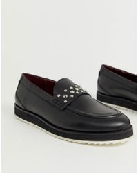 House Of Hounds Black Bowie Stud Loafers for men